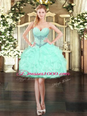 Mini Length Apple Green Prom Evening Gown Organza Sleeveless Beading and Ruffles