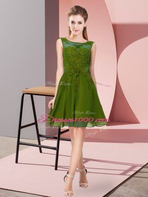 Sumptuous Knee Length Zipper Damas Dress Olive Green for Prom and Party and Wedding Party with Appliques