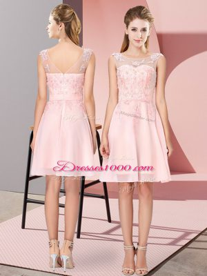 Pretty Appliques Bridesmaid Dresses Baby Pink Zipper Sleeveless Knee Length