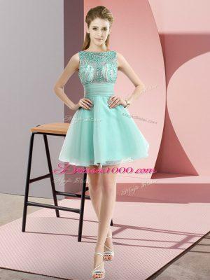 Fancy Apple Green Zipper Evening Dress Beading and Bowknot Sleeveless Mini Length