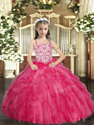 Sleeveless Organza Floor Length Lace Up Little Girls Pageant Gowns in Hot Pink with Beading and Ruffles