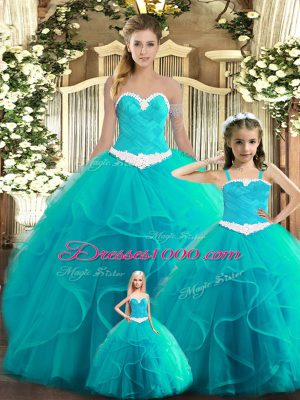 Top Selling Ruffles Ball Gown Prom Dress Aqua Blue Lace Up Sleeveless Floor Length