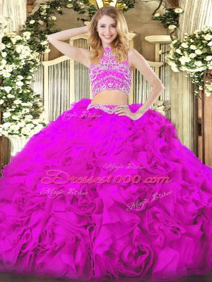 Cheap Two Pieces Ball Gown Prom Dress Fuchsia High-neck Tulle Sleeveless Floor Length Backless