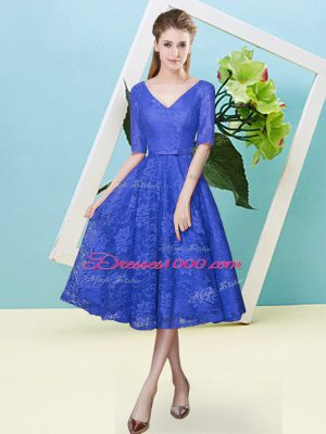 Royal Blue V-neck Neckline Bowknot Bridesmaids Dress Half Sleeves Lace Up
