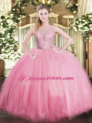 Adorable Lace Sweet 16 Quinceanera Dress Baby Pink Backless Sleeveless Floor Length