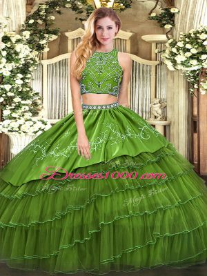 Fitting Olive Green High-neck Zipper Beading and Embroidery and Ruffled Layers Quince Ball Gowns Sleeveless