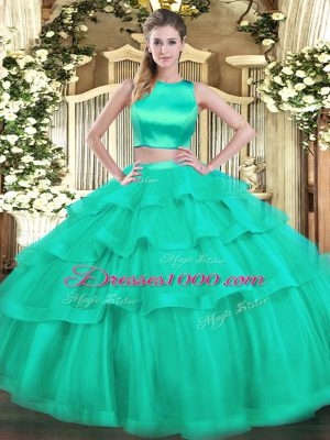 High Class Floor Length Criss Cross Sweet 16 Quinceanera Dress Aqua Blue for Military Ball and Sweet 16 and Quinceanera with Ruffled Layers