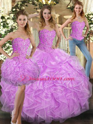 Sweetheart Sleeveless Vestidos de Quinceanera Floor Length Beading and Ruffles Lilac Tulle