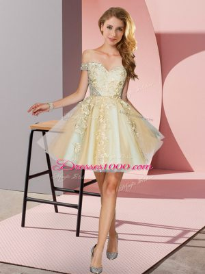 Exquisite Mini Length Champagne Bridesmaid Gown Off The Shoulder Sleeveless Zipper