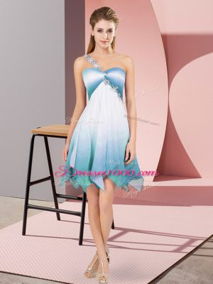 One Shoulder Sleeveless Prom Dress Asymmetrical Beading Multi-color Fading Color