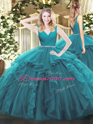Floor Length Teal Quinceanera Gowns Tulle Sleeveless Beading and Ruffles