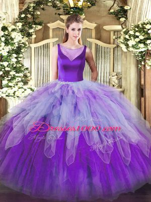 Multi-color Ball Gowns Organza Scoop Sleeveless Beading and Ruffles Floor Length Side Zipper Ball Gown Prom Dress