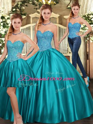 Extravagant Teal Sleeveless Floor Length Beading Lace Up Sweet 16 Dresses