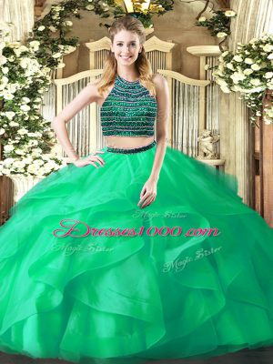 New Arrival Turquoise Organza Zipper Halter Top Sleeveless Floor Length 15th Birthday Dress Beading and Ruffles