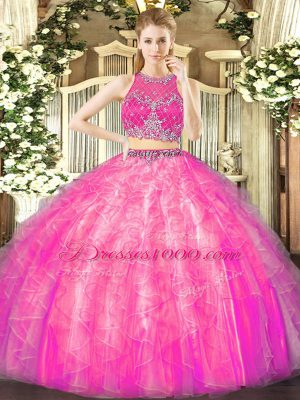 Fashion Fuchsia Two Pieces Tulle Scoop Sleeveless Beading and Ruffles Floor Length Zipper 15 Quinceanera Dress