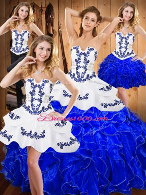 Floor Length Blue And White Sweet 16 Dress Strapless Sleeveless Lace Up