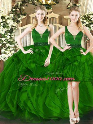 Floor Length Ball Gowns Sleeveless Dark Green Sweet 16 Dresses Lace Up