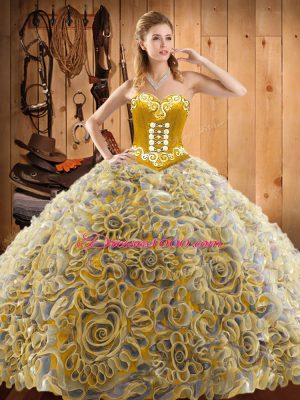 Flirting Multi-color Sleeveless Sweep Train Embroidery With Train Sweet 16 Dresses