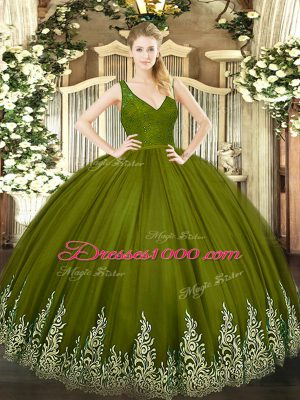 Olive Green Ball Gowns V-neck Sleeveless Tulle Floor Length Backless Beading and Lace and Appliques Quinceanera Gowns