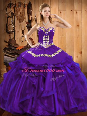 Dynamic Embroidery and Ruffles Quince Ball Gowns Purple Lace Up Sleeveless Floor Length