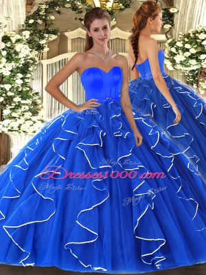 Perfect Floor Length Ball Gowns Sleeveless Blue Sweet 16 Quinceanera Dress Lace Up