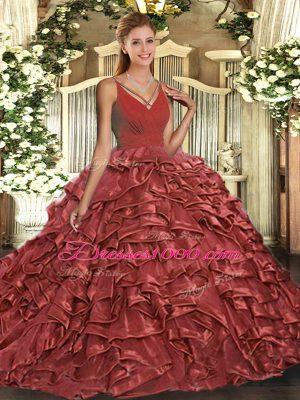 Taffeta Sleeveless Floor Length 15th Birthday Dress and Beading and Ruffles