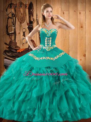 High Quality Turquoise Lace Up Sweet 16 Quinceanera Dress Embroidery and Ruffles Sleeveless Floor Length