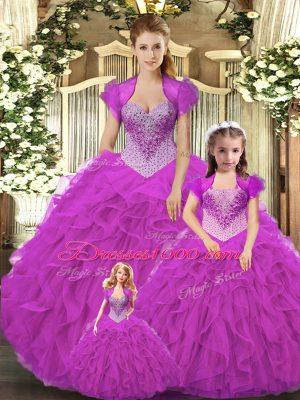 Luxurious Fuchsia Straps Neckline Beading and Ruffles Ball Gown Prom Dress Sleeveless Lace Up