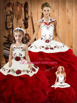 Wine Red Lace Up Halter Top Embroidery and Ruffles 15 Quinceanera Dress Satin and Organza Sleeveless
