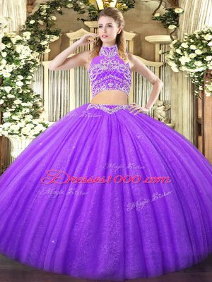 Admirable Lavender Tulle Backless Ball Gown Prom Dress Sleeveless Floor Length Beading
