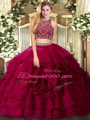 Fuchsia High-neck Zipper Beading and Ruffled Layers Quinceanera Gown Sleeveless