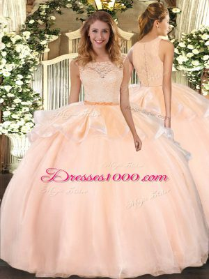 Peach Ball Gowns Lace Quinceanera Gown Clasp Handle Organza Sleeveless Floor Length