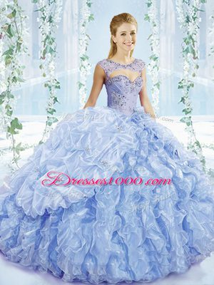 Sleeveless Brush Train Lace Up Beading and Ruffles and Pick Ups Quinceanera Gowns