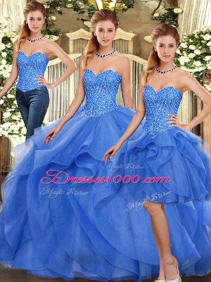 Blue 15th Birthday Dress Military Ball and Sweet 16 and Quinceanera with Ruffles Sweetheart Sleeveless Lace Up