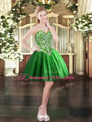 Glorious Mini Length Green Party Dresses Tulle Sleeveless Beading