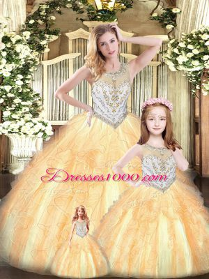 Floor Length Champagne 15 Quinceanera Dress Tulle Sleeveless Beading and Ruffles
