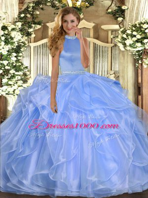 Sleeveless Backless Floor Length Beading and Ruffles Sweet 16 Dress
