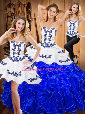 Vintage Blue And White Lace Up Strapless Embroidery and Ruffles Sweet 16 Dress Satin and Organza Sleeveless