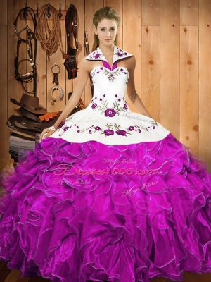 Fuchsia Ball Gowns Satin and Organza Halter Top Sleeveless Embroidery and Ruffles Floor Length Lace Up 15th Birthday Dress