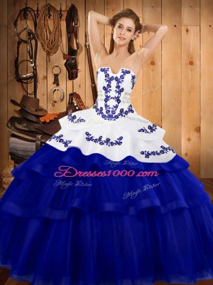 Luxurious Royal Blue Strapless Lace Up Embroidery and Ruffled Layers Sweet 16 Dress Sweep Train Sleeveless