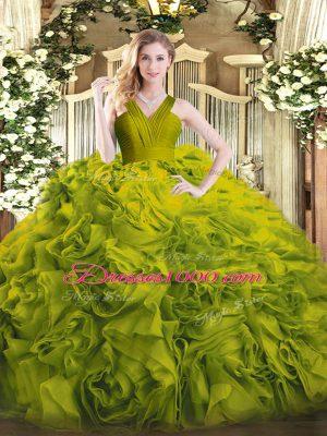Fantastic Sleeveless Zipper Floor Length Ruffles Quince Ball Gowns