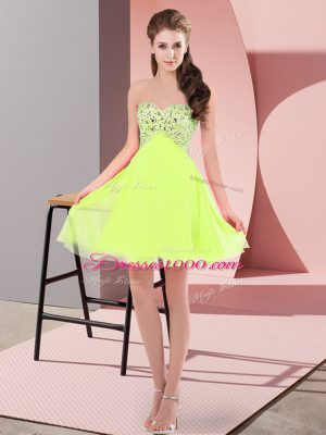 Chiffon Sweetheart Sleeveless Lace Up Beading Juniors Party Dress in Yellow Green