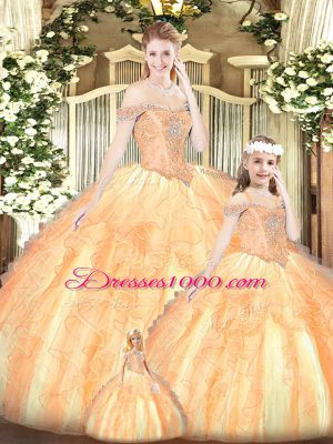 Beading and Ruffles Quince Ball Gowns Champagne Lace Up Sleeveless Floor Length