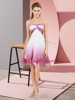 Multi-color Sleeveless Beading Asymmetrical Prom Evening Gown