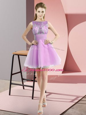 Sleeveless Chiffon Mini Length Zipper Party Dress for Girls in Lilac with Beading and Bowknot