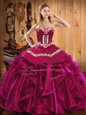 New Style Floor Length Fuchsia 15 Quinceanera Dress Satin and Organza Sleeveless Embroidery and Ruffles