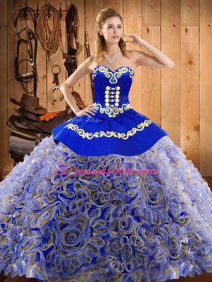 Multi-color Sweetheart Lace Up Embroidery Sweet 16 Dresses Sweep Train Sleeveless