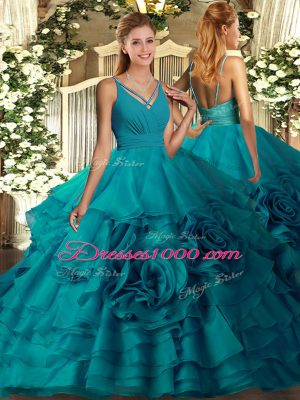 Sweep Train Ball Gowns Ball Gown Prom Dress Teal V-neck Fabric With Rolling Flowers Sleeveless With Train Backless