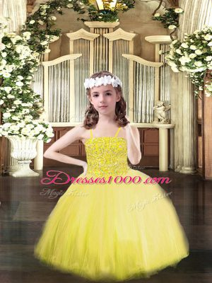 Fashion Floor Length Ball Gowns Sleeveless Yellow High School Pageant Dress Lace Up
