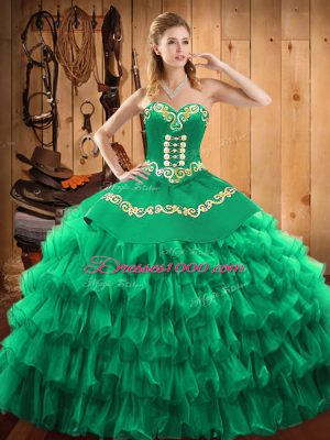 High Quality Green Sleeveless Satin and Organza Lace Up Sweet 16 Dresses for Military Ball and Sweet 16 and Quinceanera